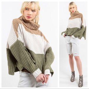 MACEY-Color Block Turtleneck Sweater